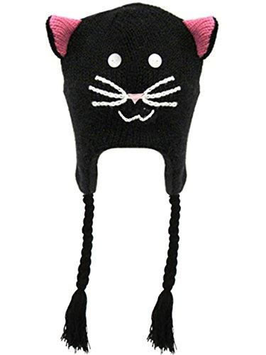 Women Cartoon Fun Animal Knitted Winter Beanie Hat w/ Ear Flaps, Black Cat