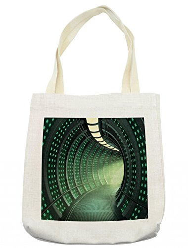 Lunarable Outer Space Tote Bag, Hallway of the Spaceship with Futuristic Elements and Round Ceiling Design, Cloth Linen Reusable Bag for Shopping Groceries Books Beach Travel & More, (Futuristic Element Costumes)