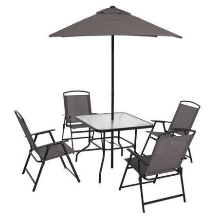Mainstays Albany Lane 6-Piece Folding Dining Set (Grey) (Grey)