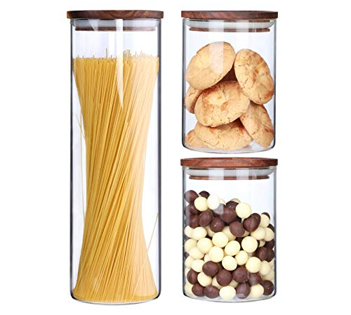 (Clear Glass Canisters With Airtight Lids For The Kitchen Glass Food Storage Jars Wood lids Air Tight Dry Food Storage Containers Pasta Spaghetti Loose Tea Cookie Candy Sugar Jar,3 Piece Set)