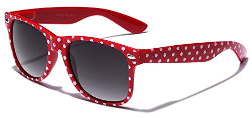 Polka Dot Retro Fashion Wayfarer Sunglasses - 100% UV400 - - Blue Red Sunglasses
