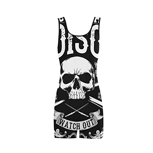 Women's Punk Skull BoyLeg One Piece Swimsuit Swimwear Tankini (Flash Rubber Wig)