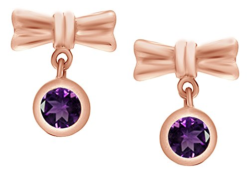 Amt Ribbon - Round Cut Simulated Amethyst Ribbon Bow Dangle Earrings In 14k Rose Gold Over Sterling Silver