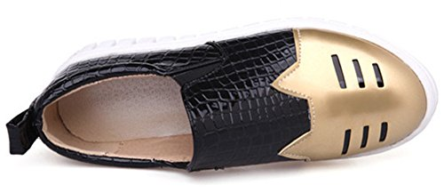Idifu Mujeres Stylish Closed Round Toe Slip On Loafers Low Top Plataforma Plana Sneakers Gold