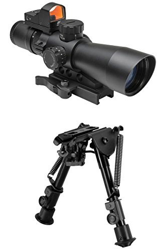 (M1SURPLUS Opitcs Kit With 3-9x42 Tactical Rifle Scope (illuminated Mil-Dot Reticle) + Quick Detach Mount + Micro Backup Dot Sight + Adjustable Bipod - This item fits Picatinny Weaver Rails)