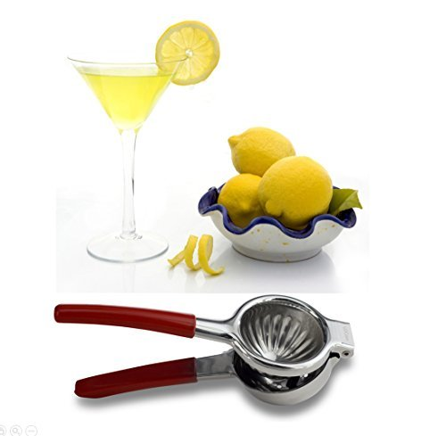 50% Off Big Sale Event - U2Com Premium Lemon Lime Squeezer - Food Safe Stainless Steel - Manual Juicer For All Citrus - Red Silicon Handle For safety - Perfect Gift For Home & Kitchen