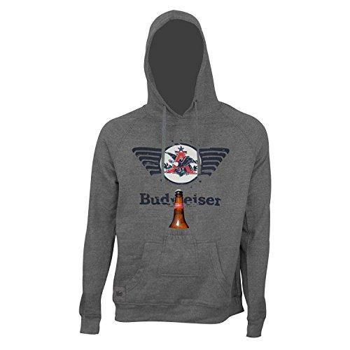 Budweiser Eagle Logo Bottle Opener Beer Pouch Hoodie (Large) ()