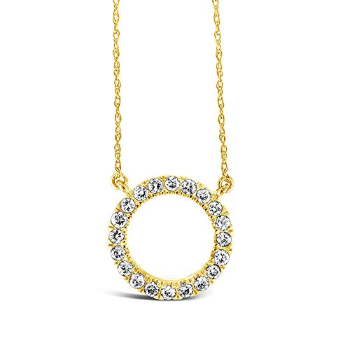 Brilliant Expressions 10K Yellow Gold 1/5 Cttw Conflict Free Diamond Circle Adjustable Pendant Necklace (I-J Color, I2-I3 Clarity), 16-18 inch
