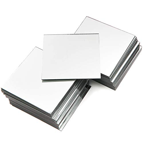 Bright Creations Square Mirror Tiles for DIY Crafts, Decorations (50 Pack) 4 Inch (Mirror Arts And Crafts)