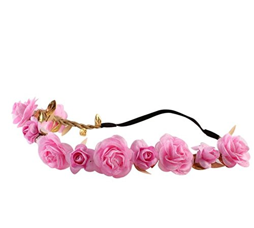 SMTSMT-Flower Hair Garland for Girls Bridesmaid Beautiful Floral Flower Festival Forehead Headband for Wedding Christmas Holiday New Year Seaside Holiday Wreath