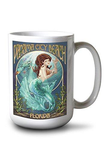 Lantern Press Panama City Beach, Florida - Mermaid (15oz White Ceramic Mug)
