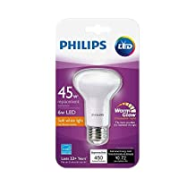 Philips 45W Equivalent Soft White R20 Dimmable with Warm Glow Light Effect LED Light Bulb