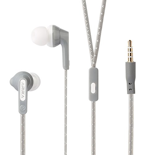 AIRUIKA R2 Headphones Wired In Ear Earbuds Earphones Sports Stereo Bass Headsets with Microphone/Controller Noise Cancelling for iPhone,Samsung Galaxy,iPad,MP3 Players, Extra Durable Flat Cord