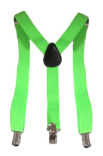 Childrens Quality Adjustable Elastic Suspenders for Babies, Boys - Baby Suspenders Lime Green