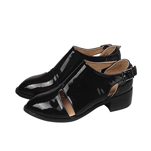 Carolbar Femme Boucle Neutre Mode Dété Utilisation Confort Casual Chunky Mi-talon Chaussures Noir (cuir Verni)