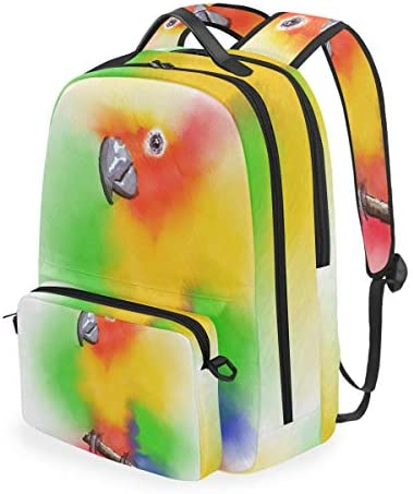 水彩オウム鳥ショルダー バックパック メッセンジャー クロスボディ ラップトップ バッグ 学生 スクールバッグ ブックバッグ 女の子 男の子 用
