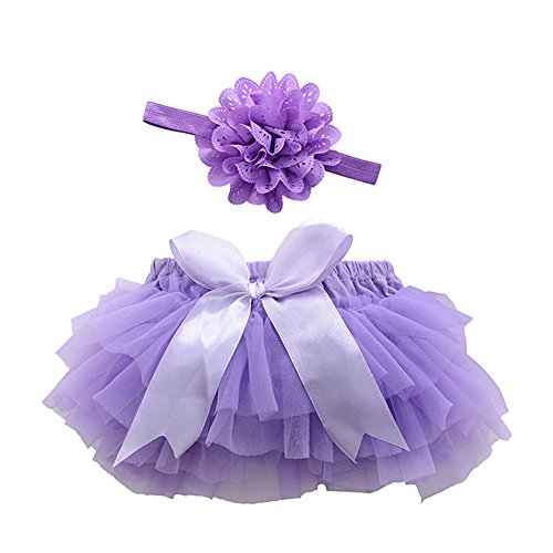 Baby Girls' Bloomers Infant Toddlers Cotton Tulle Ruffle with Bow Diaper Cover and headhand (M(6-12Month), Purple)