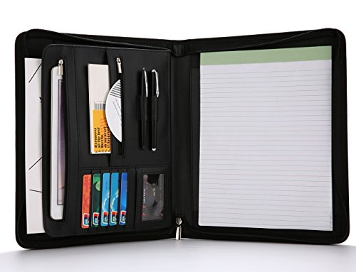 Construction Binder - Refoc Padfolio Portfolio- Leather Padfolio/Portfolio Folder/Zippered Portfolio, Interview& Business Document Organizer- Writing Pad& Card Holders -10.1 inch Table Sleeve