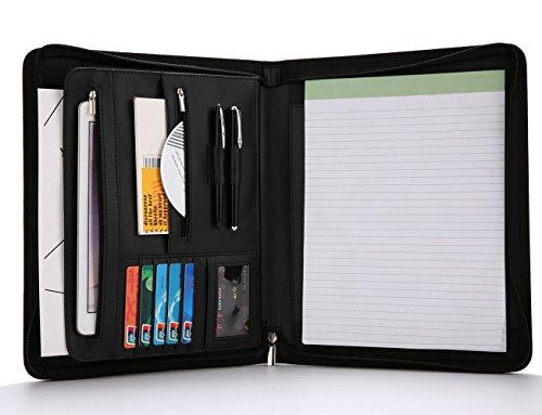 Refoc Padfolio Portfolio- Leather Padfolio/Portfolio Folder/Zippered Portfolio, Interview& Business Document Organizer- Writing Pad& Card Holders -10.1 inch Table Sleeve by Refoc
