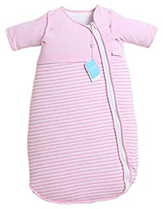 LETTAS Baby Girls Cotton Removable Long Sleeve Zip up Sleeping Bag Thicken Autumn Winter Pink (6-18 Months)