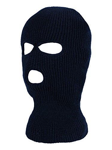 Satinior 3-Hole Knitted Full Face Cover Ski Mask, Adult Winter Balaclava Face Mask Warm Knit Full Face Mask for Outdoor Sports (Navy Blue, One Size) ()