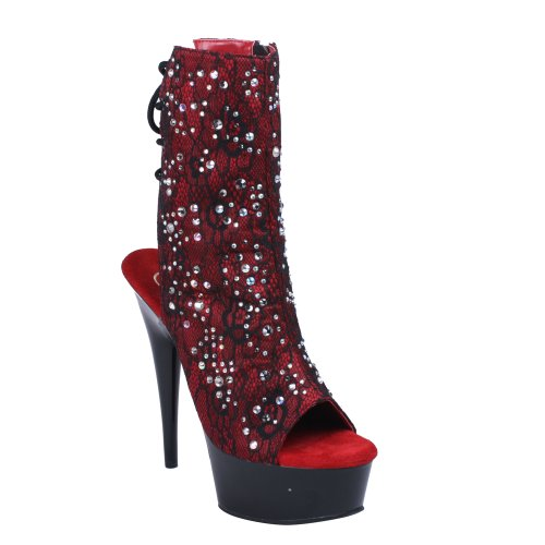 Pleaser DELIGHT-1018LC Burgundy Satin-lace/Blk RpN8g2