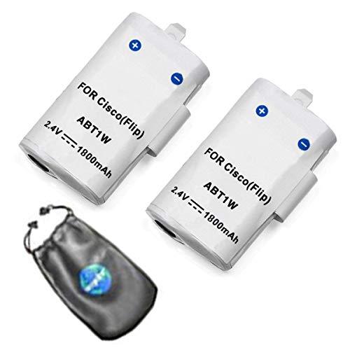 Amsahr Flip Cisco ABT1W, Dantona Cam-ABT1W, U11204, U1120B, U1120Y F160, F230 Value Pack (2 Count): Digital Replacement Camera Battery, Grey (BT-FLABT1W-2CT) (Flip F230)