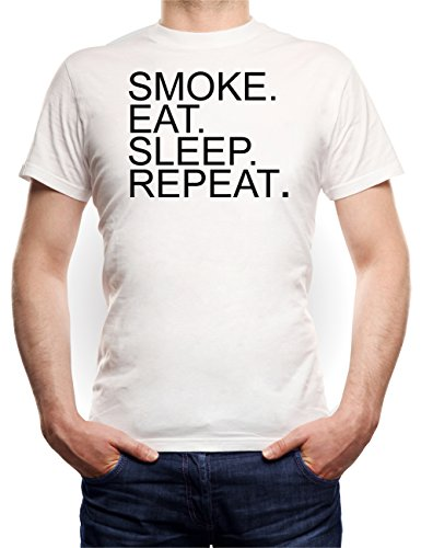 Eat Sleep Smoke Repeat T-Shirt White