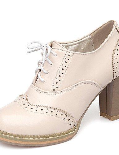 ZQ Zapatos de mujer-Tac¨®n Robusto-Tacones / Plataforma / Punta Redonda-Tacones-Vestido / Fiesta y Noche-Semicuero-Rosa / Blanco / Beige , pink-us10.5 / eu42 / uk8.5 / cn43 , pink-us10.5 / eu42 / uk8. beige-us8.5 / eu39 / uk6.5 / cn40
