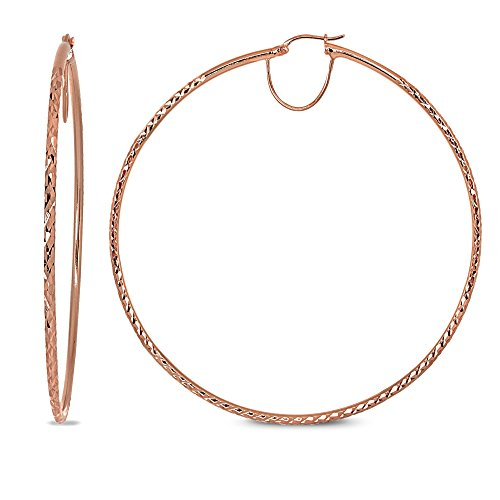 (Rose Gold Flash Sterling Silver 2x70mm Diamond-Cut Round Extra Large Hoop Earrings for Women Girls, 2 3/4 Inches)