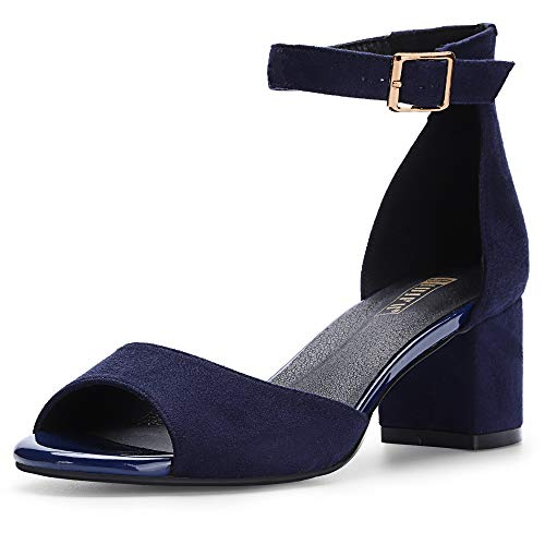 - IDIFU Women's IN2 Candie Low Chunky Block Heel Pump Heeled Sandals Buckle Ankle Strap Peep Toe Dress Shoes (10 M US, Blue Suede)