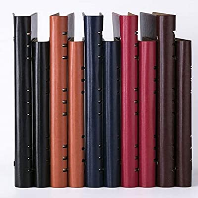 Qeeuanl 6 Hole Clip Leather Surface Diary Solid Color Note Notebook, A5 Loose-leaf Notebook Stationery Book Thick Business Notepad,black, Red (Color : Red, Size : 235mm): Office Products