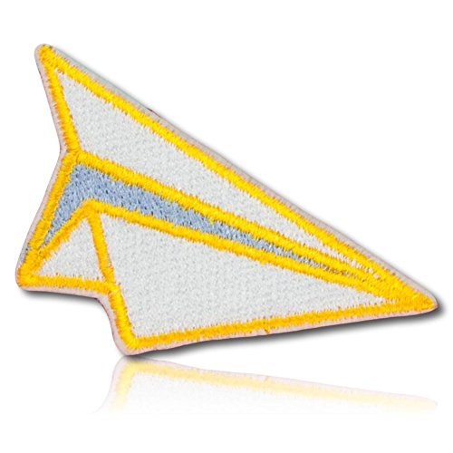 [1 Count Single] Custom and Unique (1.5'' x 2.5'' Inch) Rectangle ''Pop Art'' Origami Folding Artist Flying Fliers Pilot Paper Plane Toy Game Design Iron On Embroidered Applique Patch {Yellow & White} by mySimple Products