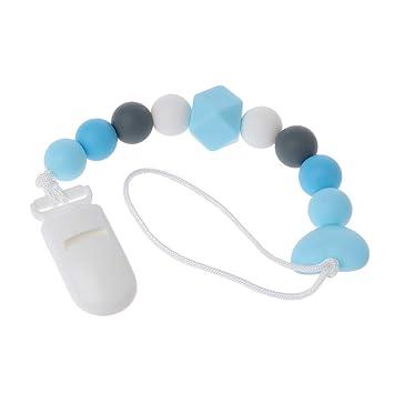 Tandou Collar Silicona Chupetero Mordedor Seguro Cadena Chupete Clips (Azul)