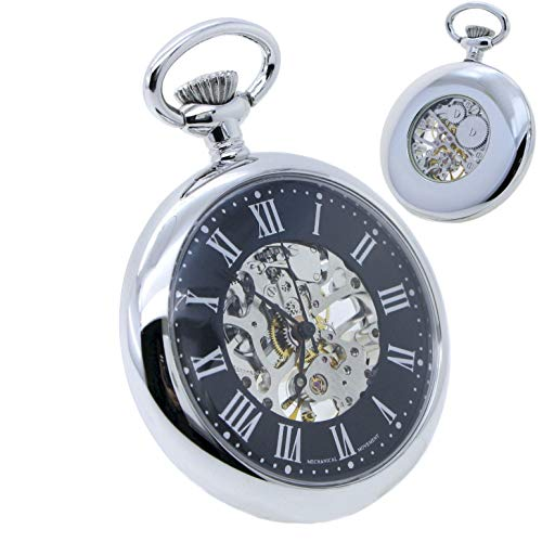 Mechanical Pocket Watch Silver Color Skeleton 17 Jewels Movement Big 49 MM Open Face Hand-Winding P306 ()