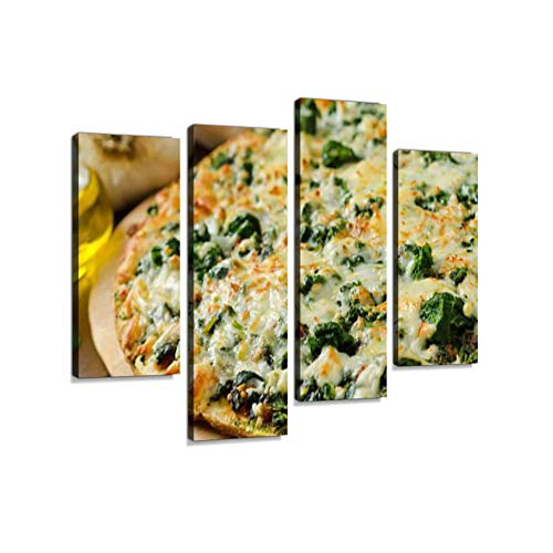 (Spinach Pizza Canvas Wall Art Hanging Paintings Modern Artwork Abstract Picture Prints Home Decoration Gift Unique Designed Framed 4 Panel)