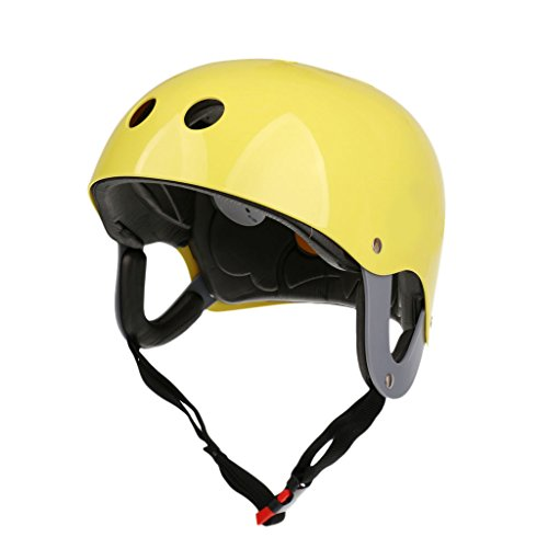 MonkeyJack Pro Safety Adjustable Helmet CE Approved for Whitewater Waterskiing Sports Kiteboarding Wakeboarding Kayaking Sailing Rafting Boating Head Circumference 22.4''-24.4'' - Yellow (Helmet Whitewater)