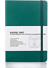 Guissi Classic Dotted Grid Bullet Notebook Journal Dot Hard Cover A5 Premium 80gsm Thick Acid-Free Paper with Fine Inner Pocket Faux Leather Office School Supplies 144 Pages Designed in Florence