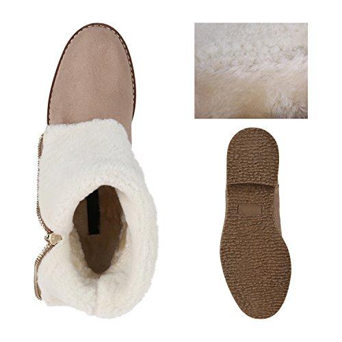 Stiefelparadies Damen Schuhe Stiefeletten Warm Gefütterte Winterboots Profilsohle Stiefel Flandell Creme