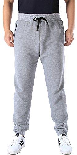 Mrignt Mens Casual Sports Jogging Elastic Fleece Sweatpants(Gray,Small)