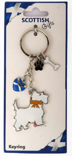 I Luv LTD Scottie Dog With Heart Paw and Bone Keyring ()