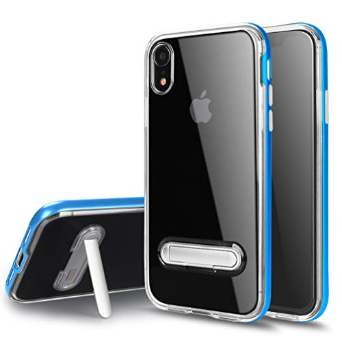 Crystal Case Blue Clear - Hayder iPhone XR Case Clear Crystal Kickstand Slim Fit Dual Layer Protective Cover (Blue)