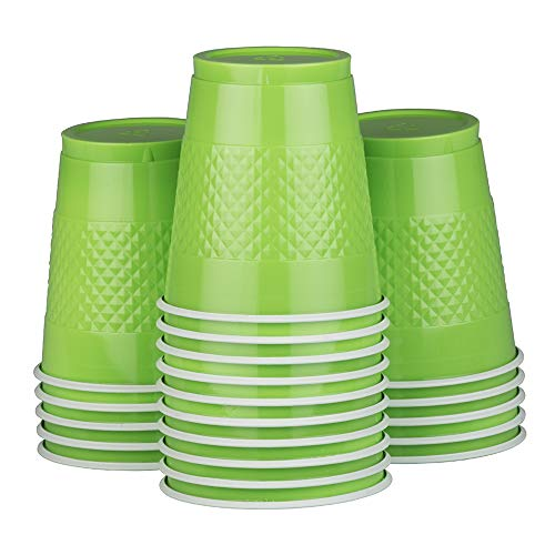 (JAM PAPER Plastic Party Cups - 12 oz - Lime Green - 20 Glasses/Pack)