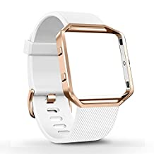 Fitbit Blaze Band, amBand Silicone Replacement Band Sport Strap with Rose Gold Frame for Fitbit Blaze Smart Fitness Watch White, Small