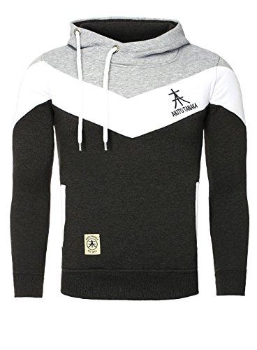 AKITO TANAKA Herren Sweatshirt 18144 Sweater Pullover mit Kapuze Stehkragen tube collar slim fit kontrast look, Grösse:XXL;Farbe:Grau / Anthrazit