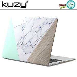 "Kuzy MacBook Air 13 Case Rubberized Hard Plastic Cover for A1466/A1369 Shell 13.3"" - Marble Pattern WOOD-MINT"