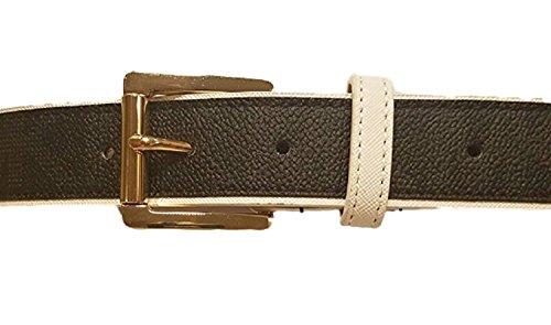 Michael Kors Color Block Belt, Black/White Trim (Medium) (Belts Michael Kors Women)