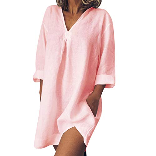 Toponly Comfy Cover Up Dresses Women Summer Beach Loose Casual Pure Color V Neck Long Sleeved Sunscreen Dress Cotton Linen]()
