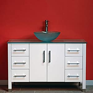 "48″ White Oak Wood & Tempered Glass Single Vessel Sink Bathroom Vanity-""Ripley"""