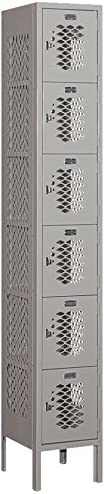Gray Salsbury Industries 76162GY-U Six Tier Box Style 12-Inch Wide 6-Feet High 12-Inch Deep Unassembled Vented Metal Locker